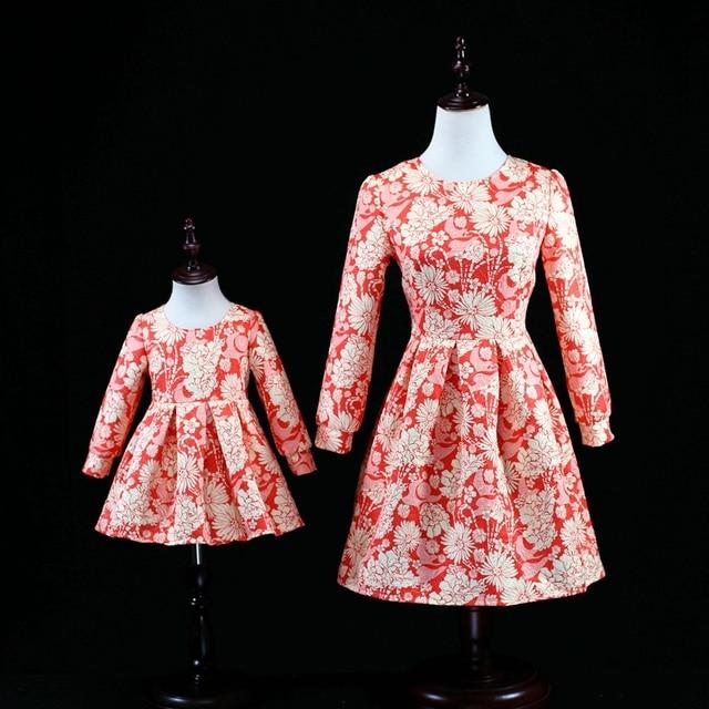 Children clothing set женщины 3XL длинные юбки семьи сопоставления одежда мать дочь платья партии baby дети девушки 12M-16Y платье