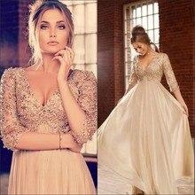 Modest Perle Abendkleid Mit Perlen Appliques V-ausschnitt Ärmel Lange Abendkleider Chiffon A-line Formales Partei-kleid