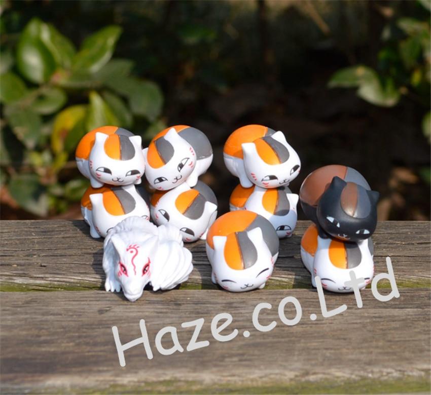 Japanese Anime Natsume Yuujinchou Nyanko Sensei Cat PVC Figure Toy 10pcs/set 18cm japanese anime natsume yuujinchou takashi natsume with nyanko sensei pvc action figure model collection toy gift