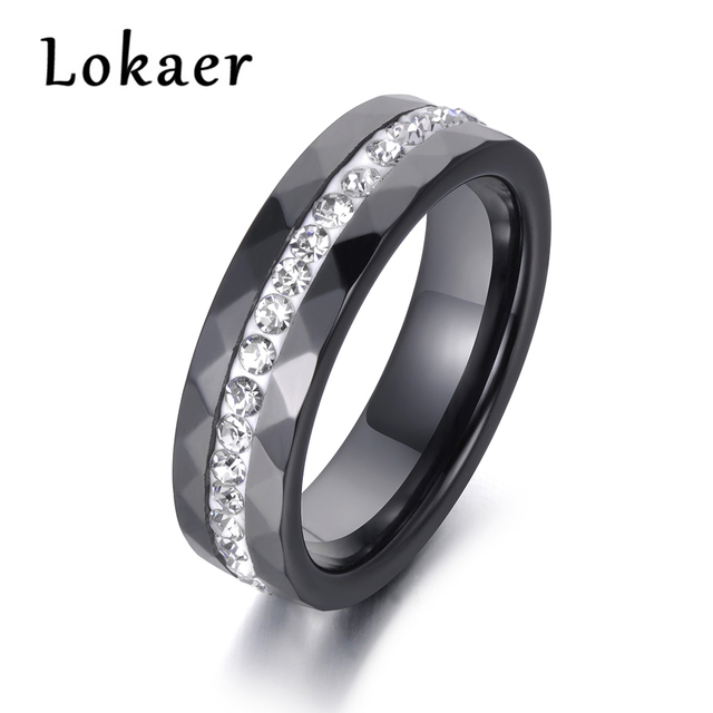Lokaer Classic White & Black Ceramics Rings Jewelry Clay Rhinestones Wedding Engagement Rings For Women Anneaux R18145