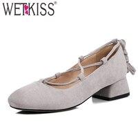 WETKISS Cross Tied Ballet Women Pumps Square Toe Med Heels Flock Hoof Heels Footwear 2019 Brand Spring Fashion Ladies Shoes