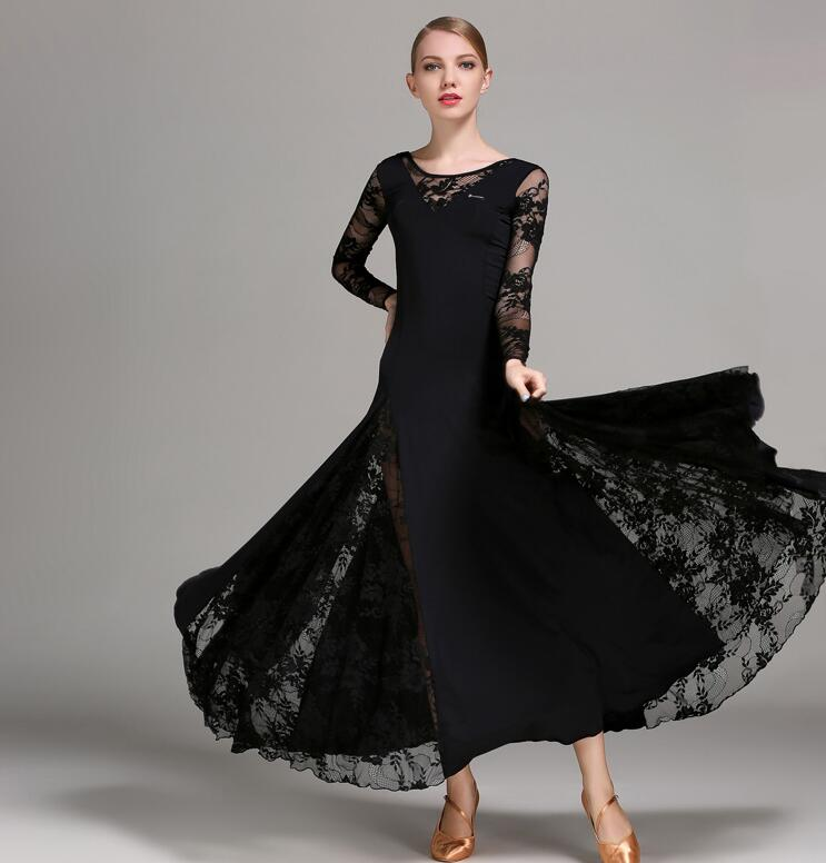 New Lace Ballroom Dance Dress For Woman Long Sleeves Waltz Tango Dance Dresses Standard Ballroom Dress Black/red/blue/green