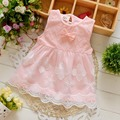Summer Sleeveless Bow Lace baby Party Birthday girls kids Children dresses,princess infant Dress Vestido S3238