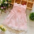 Summer Sleeveless Bow Lace baby Party Birthday girls kids Children dresses,princess infant Dress Vestido S3238