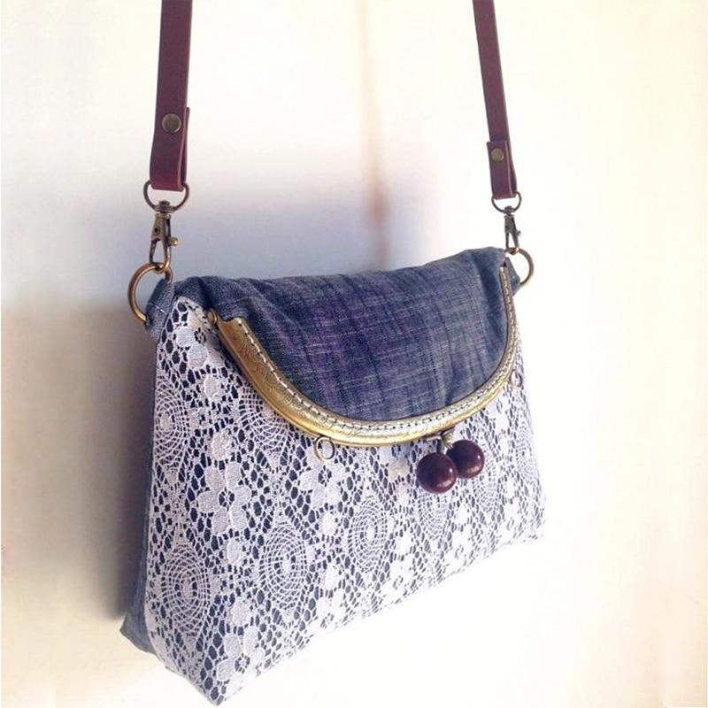Cotton Handmade Bag Lace Women Tote Metal Frame Clutch Wine Red Beads Grey Women Saddle Double Sides Shoulder Bag Vintage Purse