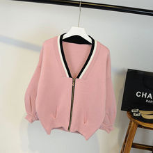 New winter zipper loose knit cardigan Lantern Sleeve pleat big V collar sweater coat color female