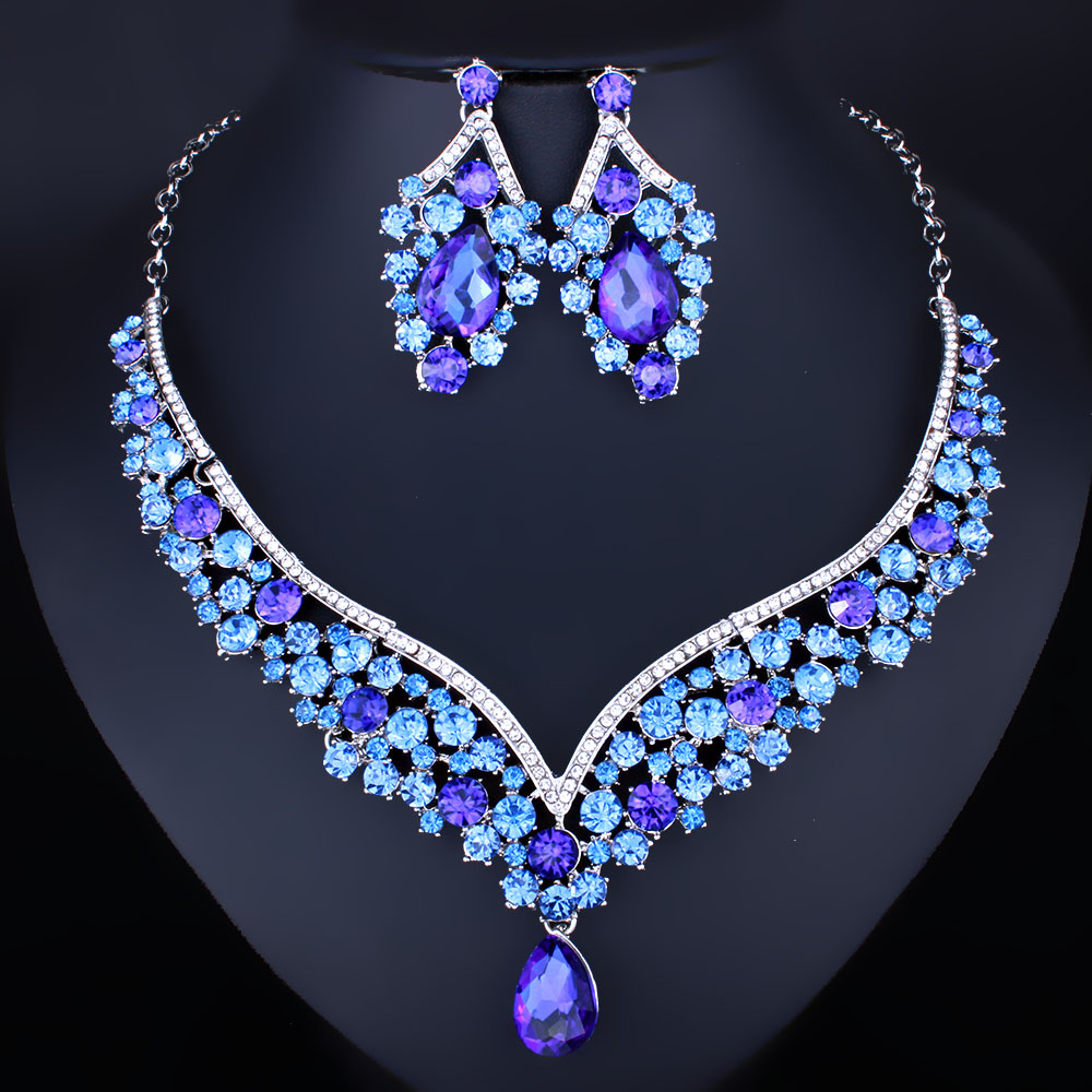 FARLENA Jewelry Exquisite Water Drop Necklace Earring Sets