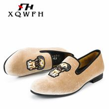 XQWFH 2018 New Style Men Velvet Loafers Fashion Embroidered Men's Dress Shoes Party and Wedding Men Shoes