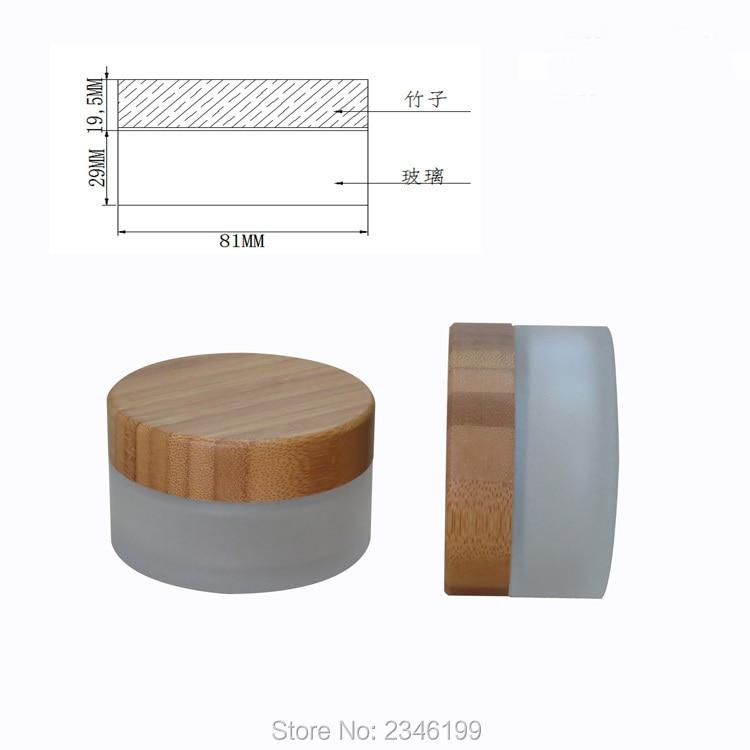 Frasco de vidrio con tapa de madera de bambú de 100g, 10 ML botella de vidrio esmerilado vacía cosméticos crema envase tapa de bambú. 10 unids/lote-in Botellas rellenables from Belleza y salud    2