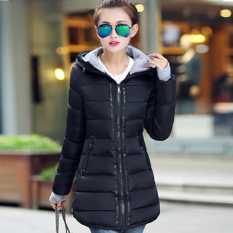 ФОТО 2016 Winter New Fashion Causal Medium Long Size Thicken Solid Color Hooded Long Sleeve Slim Women Coat