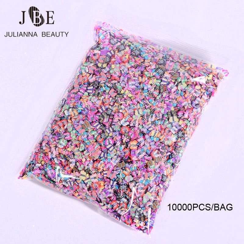 10000PCS/BAG 5mm Polymer Clay 3D Nail Art Decoration Mix Flowers Feather Fruit Fimo Cane Slice For DIY Acrylic Nail Wholesale new 1pack 50pcs fimo nail stickers fimo canes fruit 3d nail art decoration polymer clay animal flower fimo rods nail diy design