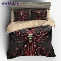 AHSNME Gusano Gusano de Terror Cráneo juego de Cama de Lujo de Estados Unidos Australia Europa Tamaño Cover Set super suave 3D de cama Estampada S