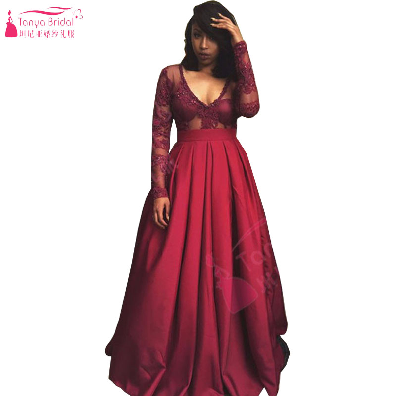 Burgundy Long   Prom     Dresses   V-Neck Satin Arabic Evening   Dresses   Elegant charming Vestido de festa Plus size   dress   Z683