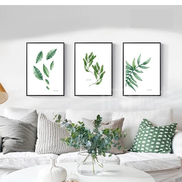 Hermosa hoja verde estilo nórdico lienzo pared arte comedor lienzo ...