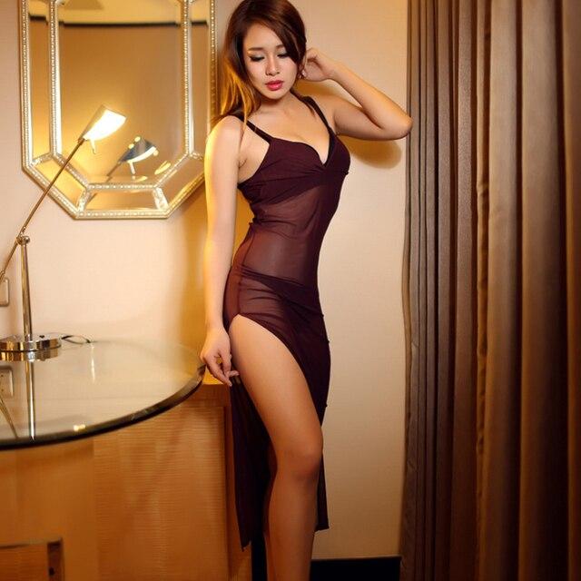 Selebritee Women Sexy Lingeries Long Perspective Mesh Erotic Dress Sling See Through Nightie Erotic Babydoll Underwear Sleepwear
