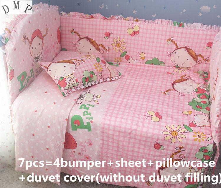 Promotion! 6/7PCS baby bedding set 100% cotton curtain crib bumper pillow quilt cover baby cot sets, 120*60/120*70cm promotion 6 7pcs cartoon crib baby bedding set baby nursery cot bedding crib bumper quilt cover 120 60 120 70cm