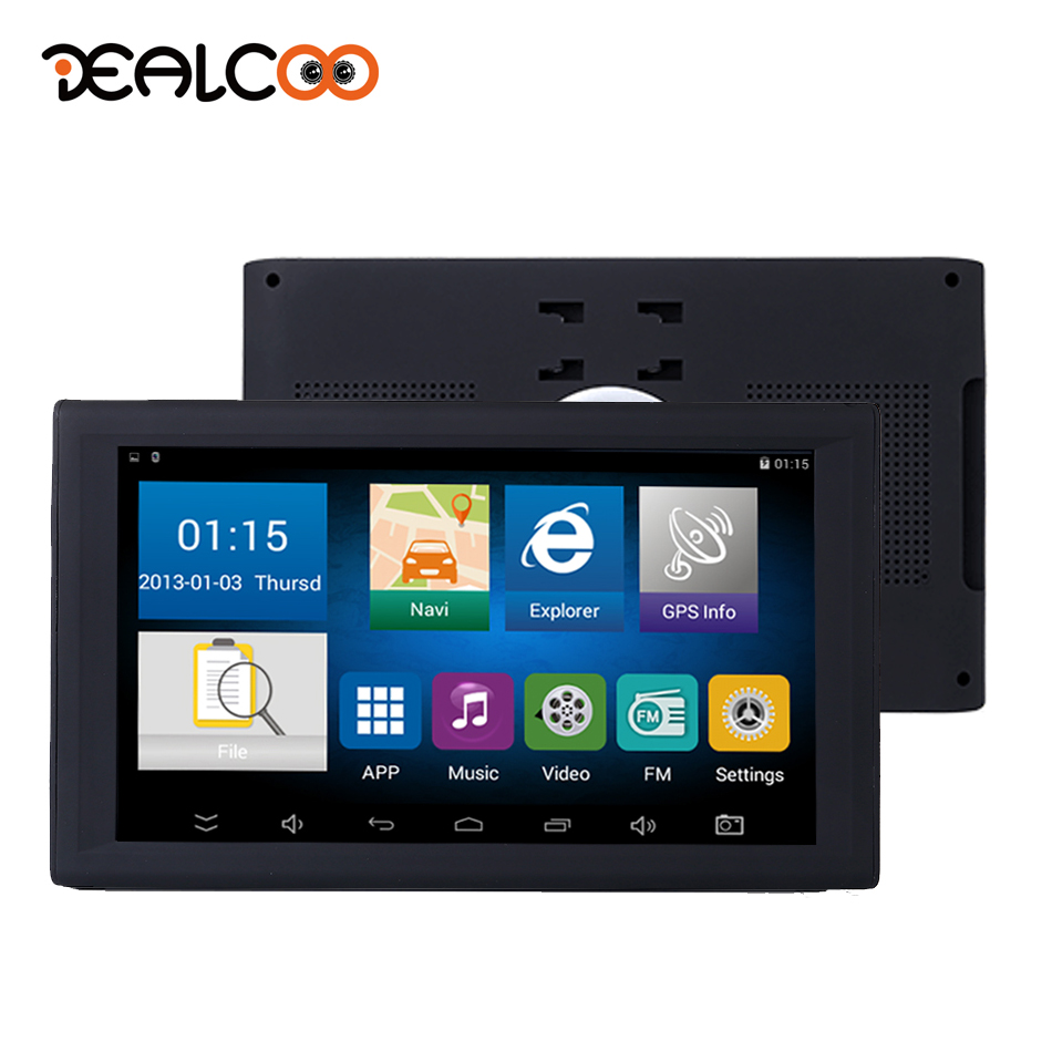 купить Dealcoo Car GPS Navigation 9' Inch Android FM Built in 8GB/512M Map For Russian/Europe/USA+Canada Truck Vehicle GPS Navigator недорого