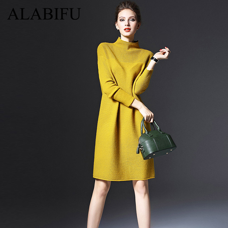 ALABIFU Knitting Women Dress 2019 Vintage Casual Plus Size Long Sleeve  Dress Female Elegant Solid Long Party Dress ukraine 5XL-in Dresses from  Women s ... ef37e633e8fa