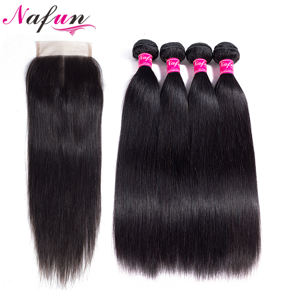 NAFUN Hair 100% Peruvian Straight Hair Bundles With Closure Natural Color Human Hair 4 Bundles With 4*4 Lace Closure Non Remy