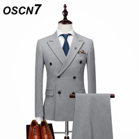 OSCN7 Double Breasted Suit Men Slim Fit Leisure Wedding 2018 Mens Suits Plus Size Party Costume Homme YH002