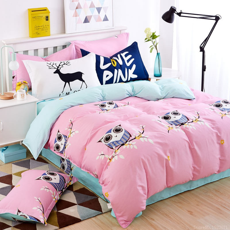 Pink Owl Girls Boys Bedding Set Bright Color Fish Horse