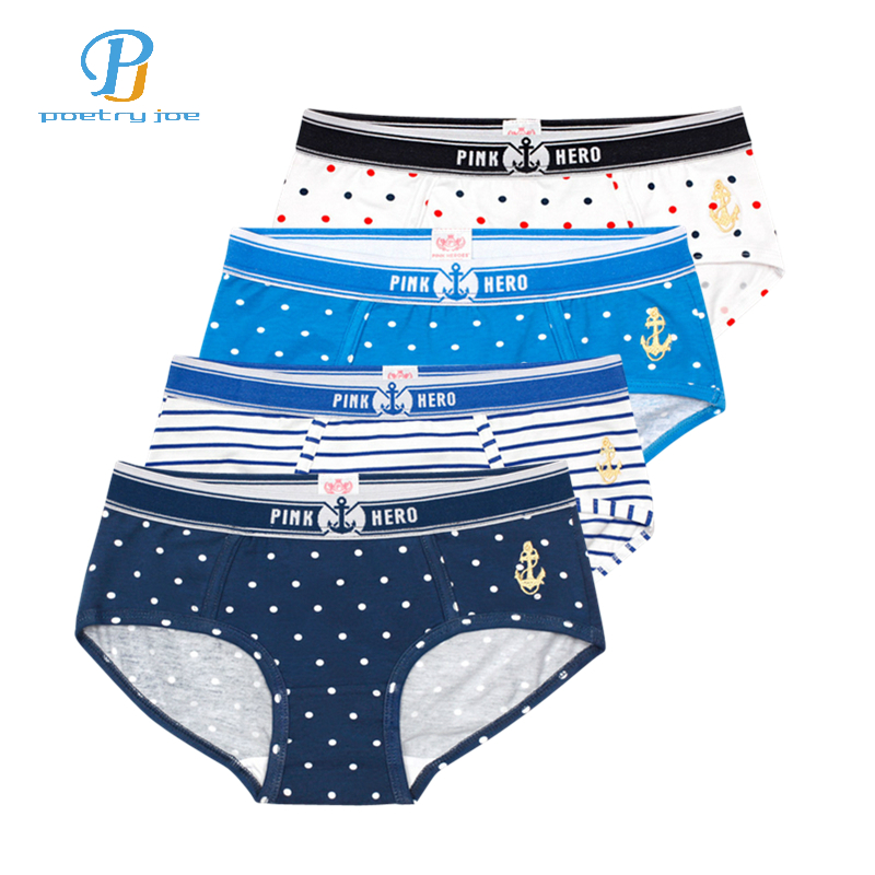 Pink Heroes 4pcs/lot Female Underwear Pure Cotton Print Sexy Underwear Women Triangle Underwear   Panties   Underwear Women