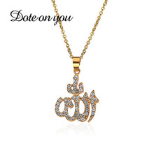 FashionAllah Muslim Arabic Printed Pendant Necklace Stainless Steel With Rope Chain Men Women Islamic Quran Arab Fashion Jewelry
