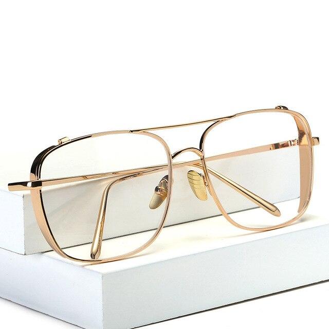 Carré Surdimensionné Vintage Lentille Claire Lunettes de soleil Cadre En Or  Hommes Femmes myopie lunettes femmes f4ee31c059eb