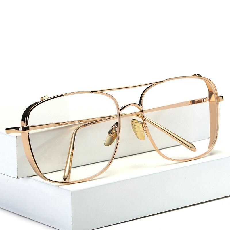 301585daf8 Cuadrados de Gran Tamaño Vintage Lente Transparente Gafas Graduadas Marco  de Oro Hombres Mujeres miopía gafas mujeres gafas gafas de grau armaÇÃo de  oculos ...