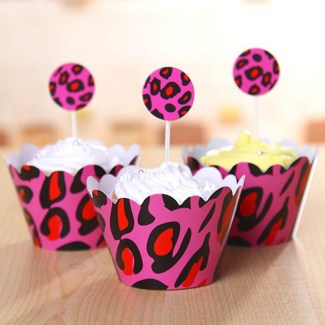 24pcs/set leopard print cupcake wrappers & toppers picks kids ...