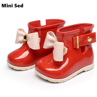 Mini SED Shoes 2016 Popular Baby Jelly Shoes For Girl Shoes Children Bow Rain Boot Girls
