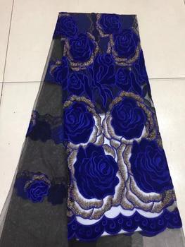 Nigerian velvet net lace wedding, embroidered lace fabric, royal blue velvet lace fabric FJ28171