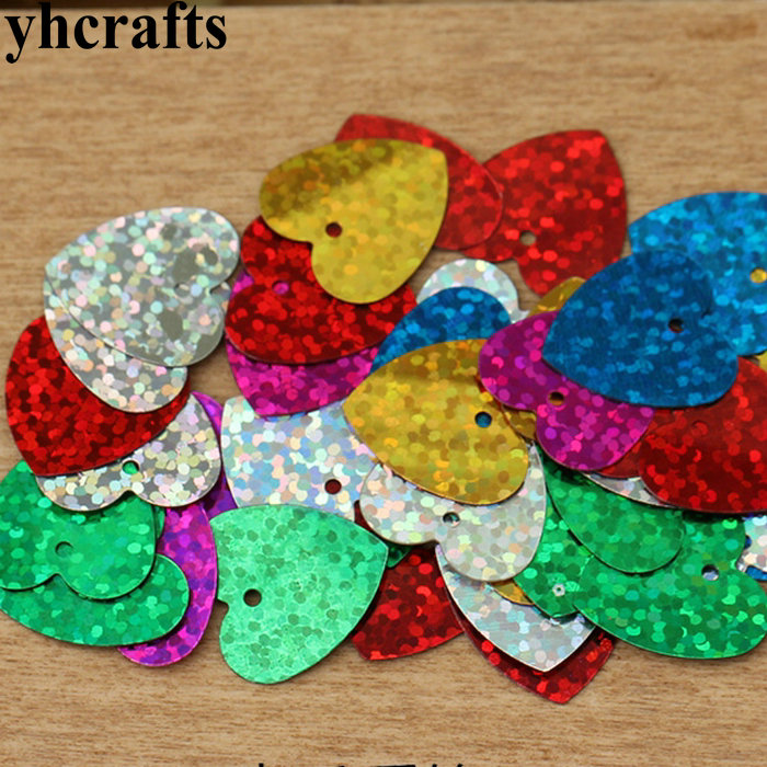 20gram/Lot Laser Heart With Hole Sequin.Craft Material Kindergarten Arts And Crafts DIY Toy Intelligence Creative Activity Item