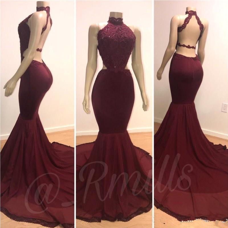 Burgundy Robe De Soiree 2019 Mermaid High Collar Lace Beaded Sexy Long Women Party   Prom     Dresses     Prom   Gown Evening   Dresses