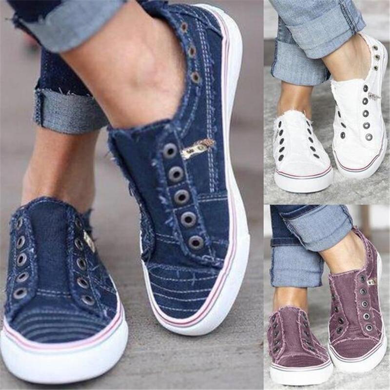 2019 Fashion Women Sneakers Denim Casual Shoes Female Summer Canvas Shoes Trainers Ladies single shoes Tenis Feminino