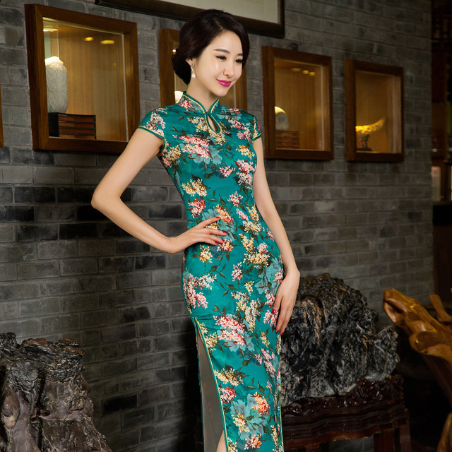 2016 Fashion Vintage Slim Evening dress Short sleeve long cheongsam dress chinese traditional dress qipao evening dresses gown