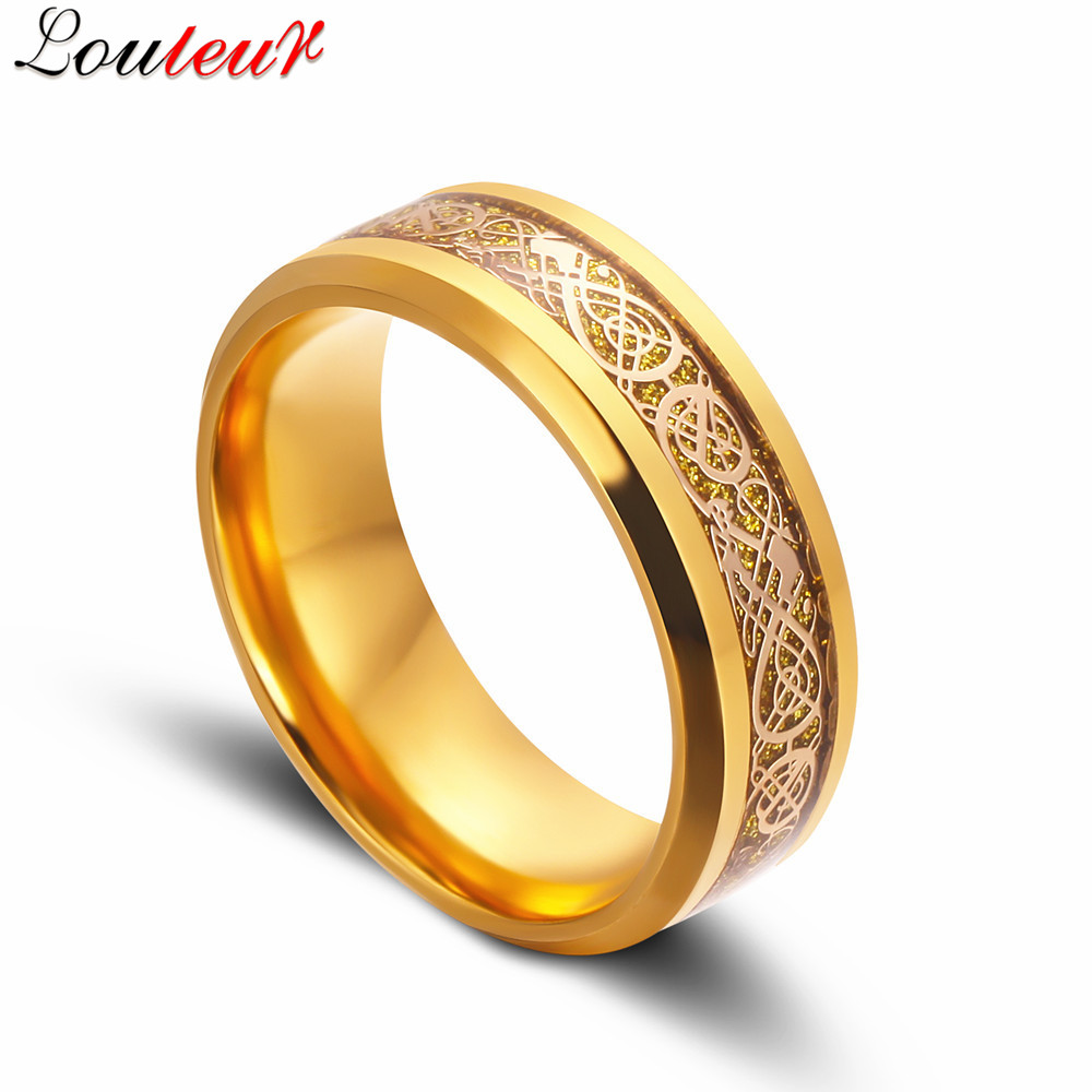 Louleur 2017 Vintage Gold Color Irish Claddagh Celtic Ring Dragon Tungsten Wedding  Bands Eternity Wedding Rings