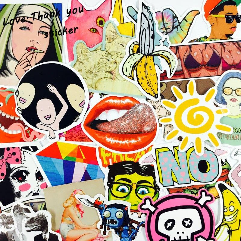 Oyuncaklar ve Hobi Ürünleri'ten Etiketler'de 5000 adet Çıkartmalar Mix Tarzı Komik Karikatür Çıkartma Buzdolabı Doodle Snowboard Bagaj Dekor Jdm Marka Araba Bisiklet Oyuncaklar DHL/ UPS/SHUNFENG'da  Grup 2