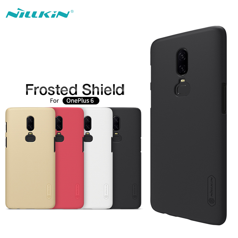 Case For <font><b>OnePlus</b></font> 6 Back Cover NILLKIN Super Frosted Shield Hard PC Cases For One Plus 6 <font><b>A6000</b></font> Phone Back Cover+Screen Protector image