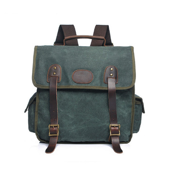 New retro men's shoulder wrapped with wax canvas with crazy horse backpack  travel waterproof men bag