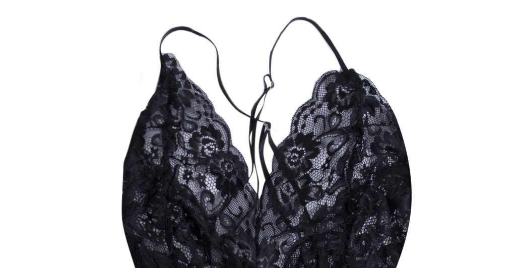 Sexy Vrouwen Plus Size Kant Babydoll skinny solid Bodysuit