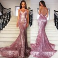2017 Vestido De Festa Sequined Pink V Neck Mermaid Evening Dresses 2017 Off Shoulder Sexy Open Back Sweep Train Prom Dresses