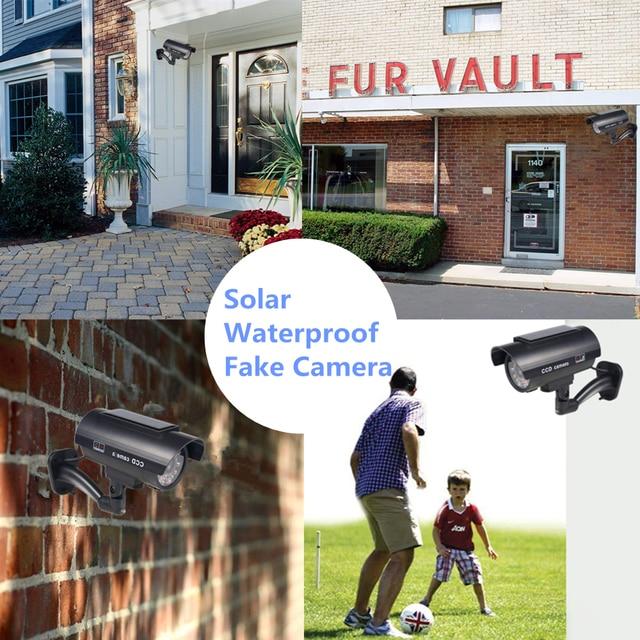 Fake Camera Solar Power Outdoor Simulation Dummy Camera Waterproof Security CCTV Surveillance Bullet With Flashing LED Light 6
