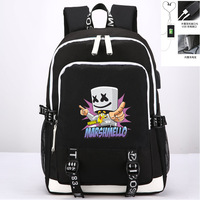 DJ Electronic Music Marshmello Hip pop Women Backpack Canvas School Bags DJ Travel Backpack USB Charging Laptop Backpack Rugzak