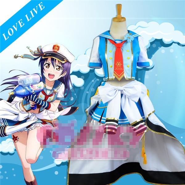 Anime Love Live Navy Sailor font b Suits b font Uniform Awaken Sonoda Umi Cosplay Costume