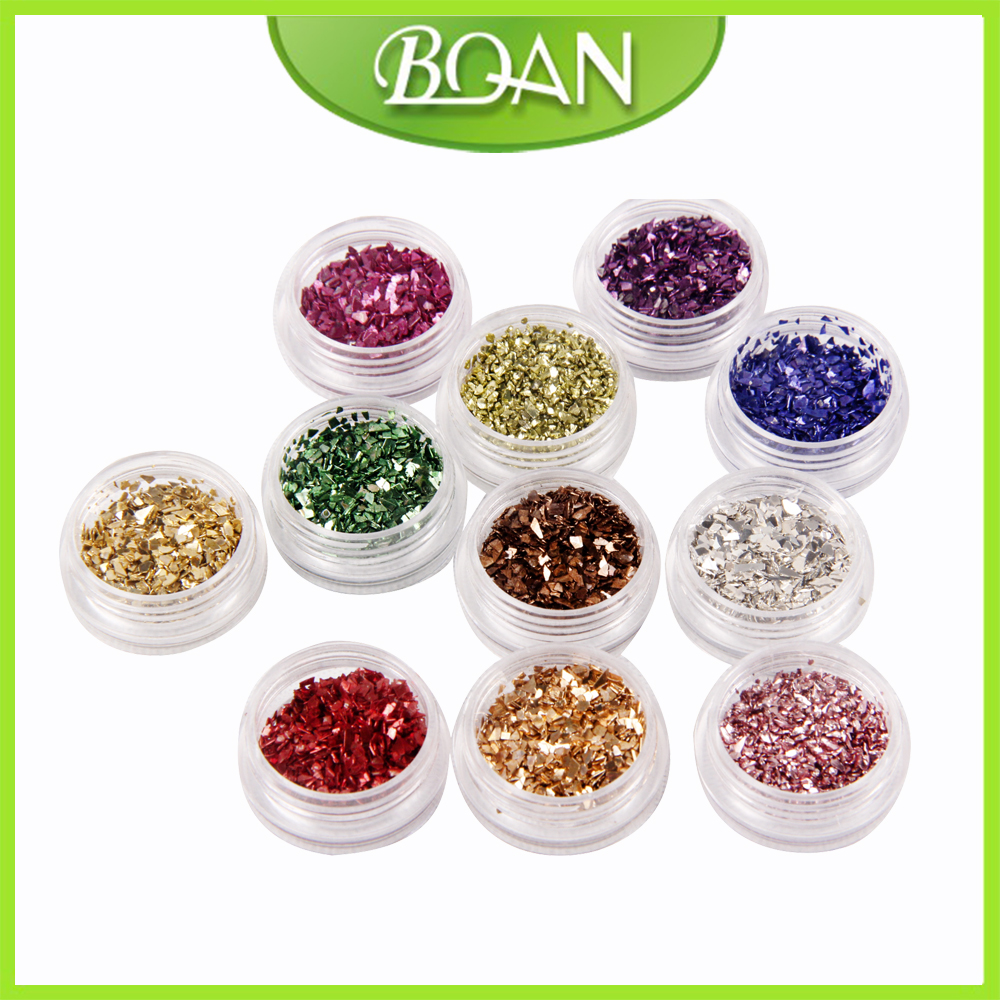 12Colors Nail Art Glitter Laser Crushed Shell Bits For DIY Nail Polish UV Acrylic 3D Nail Art Decorations Stickers fashionable oumaxi 12 colors acrylic nail paints for 3d nail art drawings and designs