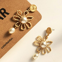Punk Metal Hollow Flower Dangle Earrings Personality Human Avatar Imitation Pearl Drop For Women Fashion Jewelry