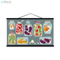 Modern Colorful Food Fruit Hipster Wood Framed Canvas Painting Wall Art Print Picture Poster Hanger Kitchen