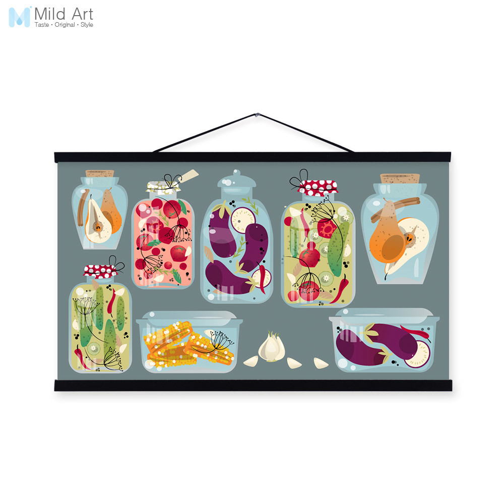 Colorful Kitchen Wall Art: Modern Colorful Food Fruit Hipster Wood Framed Canvas