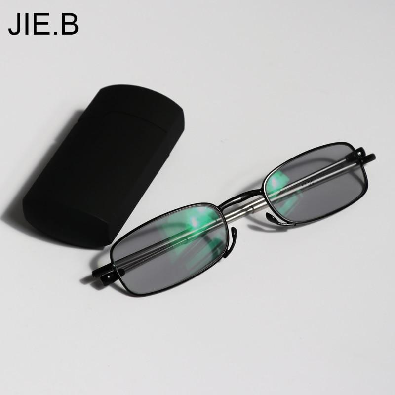 2017 New Mini Transisi Matahari Photochromic Kacamata Baca Lipat Kacamata Baca Lipat Kacamata Baca Wanita Pria Dengan Kasus